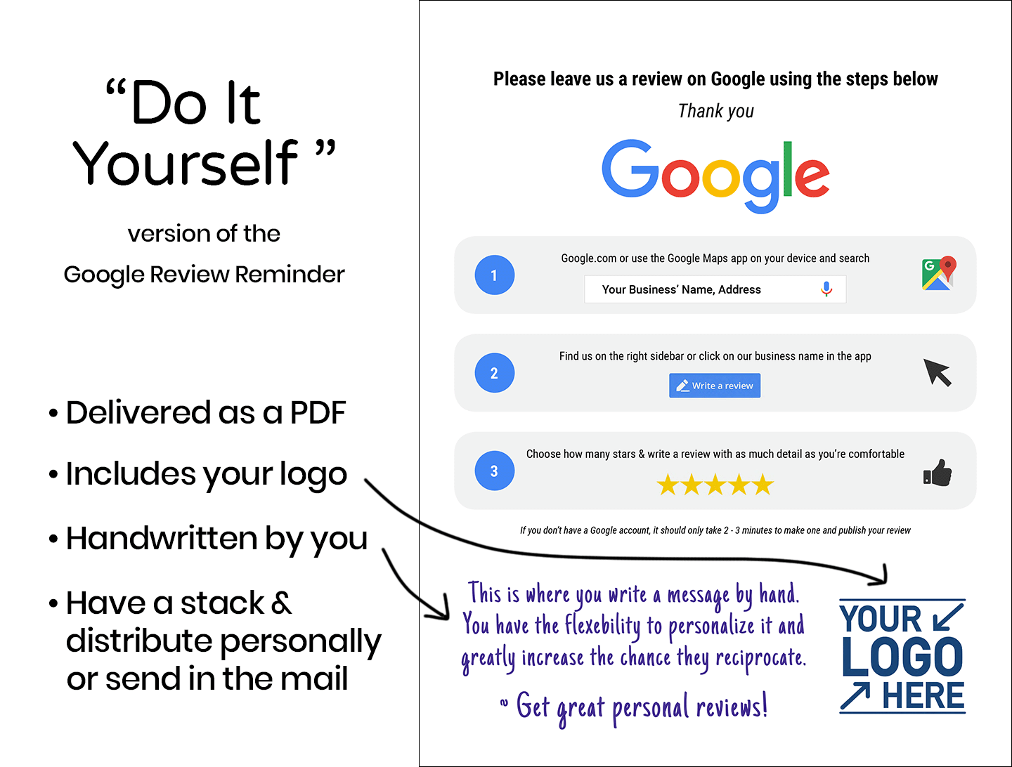 Google Review Reminder Do It Yourself Tab Graphic