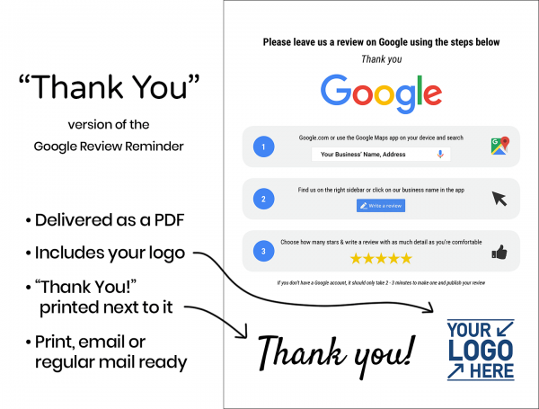 "Google Review Reminder - ""Thank You"""
